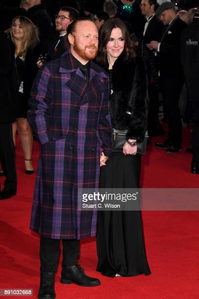 Presenter Leigh Francis and guest attend the European Premiere of 'Star Wars The Last Jedi' at Royal Albert Hall on December 12 2017 in London England