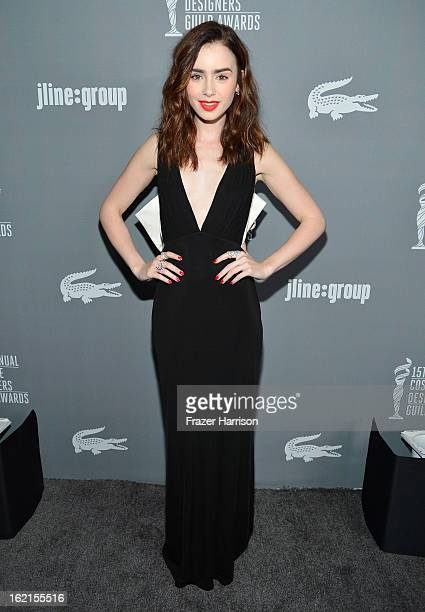 Presenter Lily Collins attends the 15th Annual Costume Designers Guild Awards with presenting sponsor Lacoste at The Beverly Hilton Hotel on February...