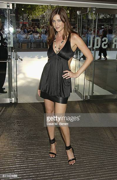 TV presenter Lisa Snowdon arrives at the UK Premiere of 'I Robot' at Odeon Leicester Square on August 4 2004 in London