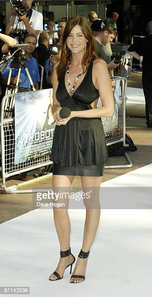 Presenter Lisa Snowdon arrives at the UK Premiere of 'I Robot' at Odeon Leicester Square on August 4 2004 in London