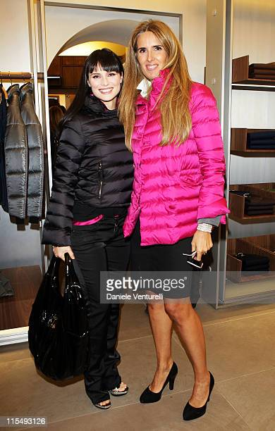 TV presenter Lorena Bianchetti and Tiziana Rocca attends Fay flagship store opening at Via Fontanella Borghese on October 28 2008 in Rome Italy