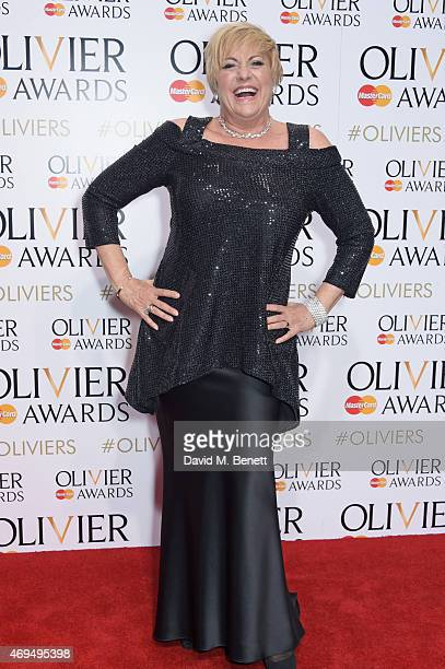 Presenter Lorna Luft poses in the winners room at The Olivier Awards at The Royal Opera House on April 12 2015 in London England