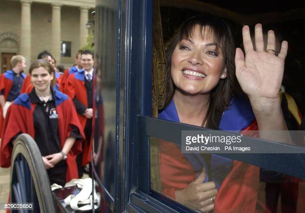 TV presenter Lorraine Kelly arrives to start her carriage ride through the streets of Dundee with students on a pub crawl before being installed as a...
