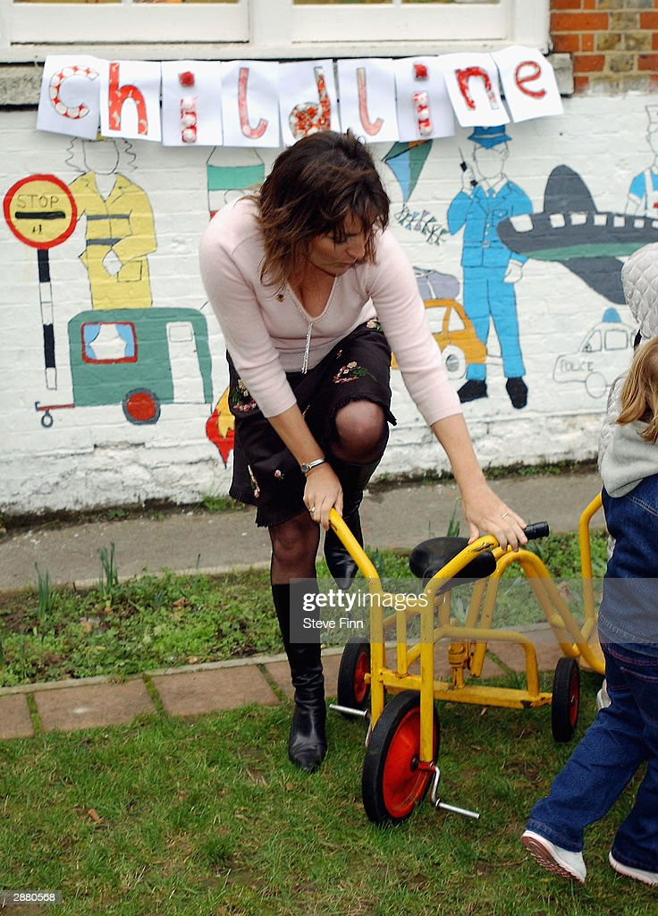 Presenter Lorraine Kelly launches Childline's 2004 Pedal Push in Battersea on January 19, 2004 in London. Nursery school children were presented with an award for the best fund raising by the TV hostess.