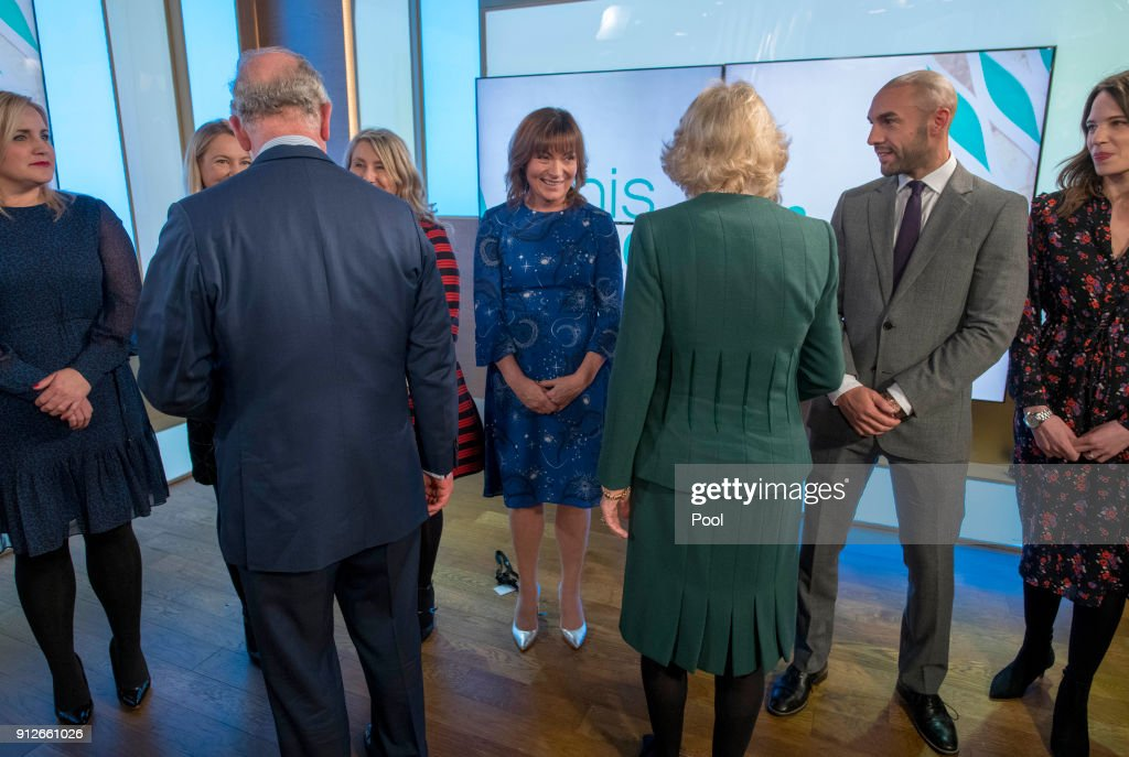 Presenter Lorraine Kelly (C) meets Prince Charles, Prince of Wales and Camilla, Duchess of Cornwall during the royal couple's visit to ITV's 'This Morning' to celebrate the 90th anniversary of the Royal Television Society at London Television Centre on January 31, 2018 in London, United Kingdom.