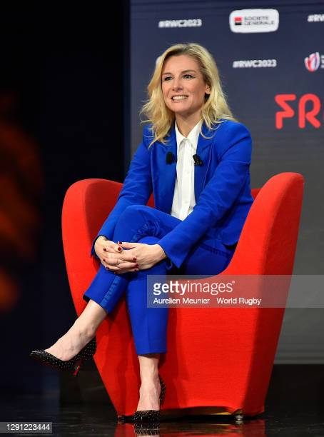Presenter Louise Ekland looks on during the Rugby World Cup France 2023 draw at Palais Brongniart on December 14, 2020 in Paris, France
