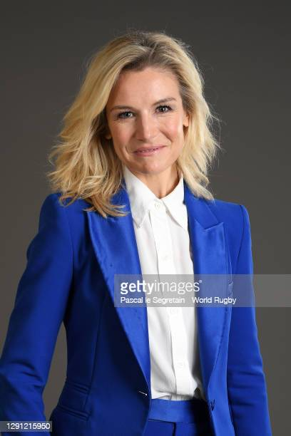 Presenter Louise Ekland poses for a photo during the Rugby World Cup France 2023 draw at Palais Brongniart on December 14, 2020 in Paris, France