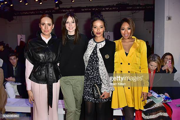 Presenter Louise Roe model Coco Rocha singer Selita Ebanks and journalist Alicia Quarles attend the Marissa Webb Fall 2016 show during New York...