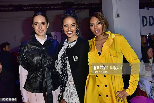 Presenter Louise Roe singer Selita Ebanks and journalist Alicia Quarles attend the Marissa Webb Fall 2016 show during New York Fashion Week The Shows...