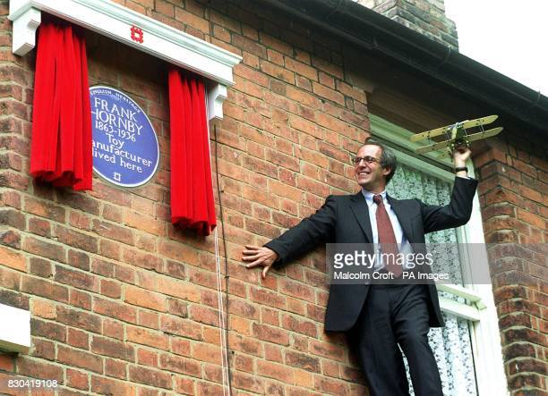 TV presenter Loyd Grossman unveils an English Heritage blue plaque at the former home of Frank Hornby in Liverpool who invented Meccano once dubbed...