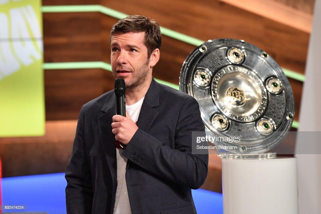 Presenter Marco Hagemann talks during the Eurosport Bundesliga Media Day on August 16, 2017 in Unterfohring, Germany.