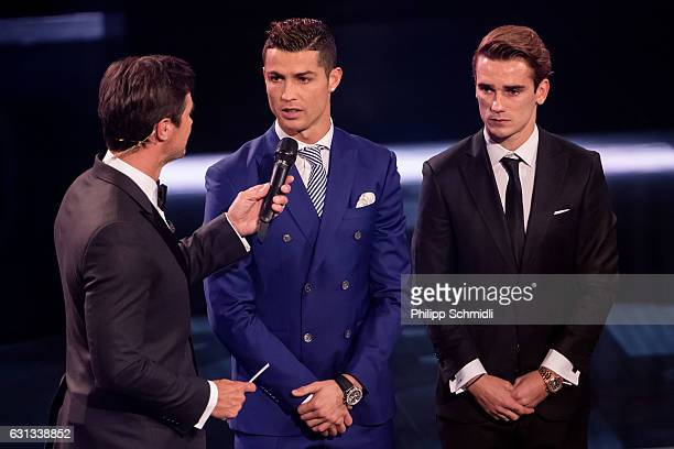 Presenter Marco Schreyl speaks with The Best FIFA Men's Player Award nominees Cristiano Ronaldo of Portugal and Real Madrid and Antoine Griezmann of...