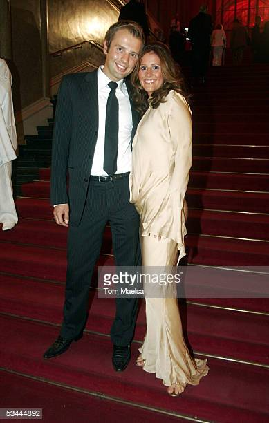 TV presenter Mareille Hoeppner and Arne Schoenfeld attend the Reminder's Day AIDS Gala at Rotes Rathaus in Berlin on August 20 2005 in Berlin Germany