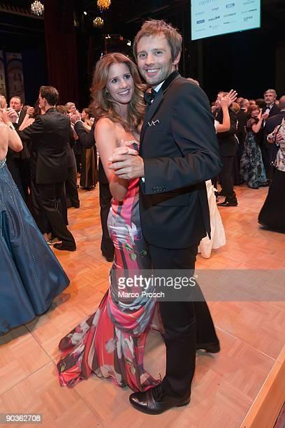 TV presenter Mareille Hoeppner and Arne Schoenfeld dance at the 15th Opera Ball Leipzig on September 5 2009 in Leipzig Germany