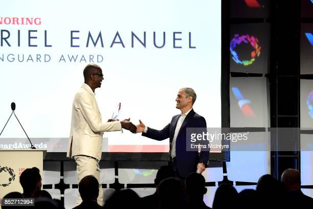 Presenter Mark Bradford and Honoree Ariel Emanuel onstage during Los Angeles LGBT Center's 48th Anniversary Gala Vanguard Awards at The Beverly...