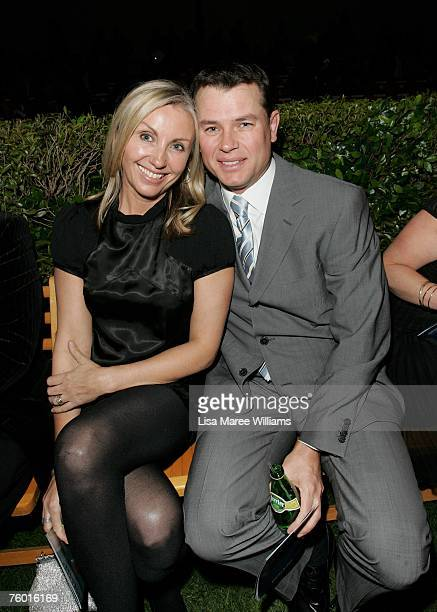 TV presenter Mark Ferguson and his wife Jayne pose at the David Jones Summer 2007 Collection Launch at Fox Studios on August 7 2007 in Sydney...