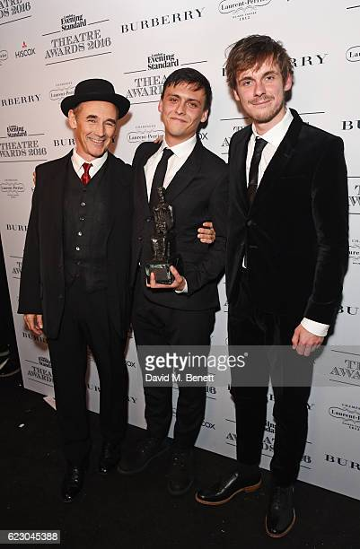 Presenter Mark Rylance poses with Joe Murphy and Joe Robertson winners of the Editors Award for Good Chance Theatre in front of the winners boards at...