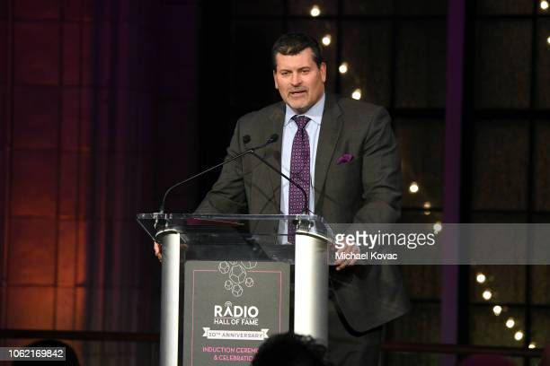 Presenter Mark Schlereth speaks on stage during Radio Hall Of Fame 2018 Induction Ceremony at Guastavino's on November 15 2018 in New York City