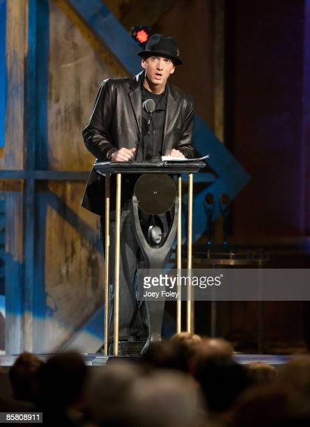 Presenter Marshall Bruce Mathers III aka 'Eminem' speaks onstage during the 24th Annual Rock and Roll Hall of Fame Induction Ceremony at Public Hall...