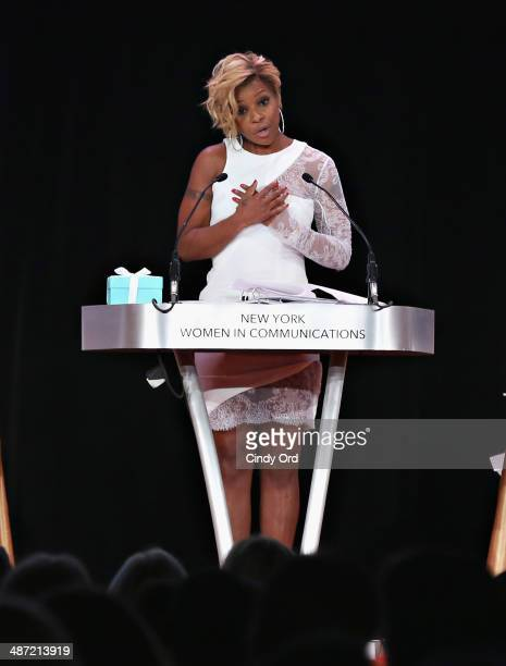 Presenter Mary J Blige speaks during the 2014 Matrix Awards at The Waldorf Astoria on April 28 2014 in New York City