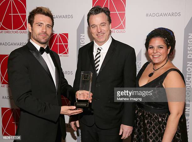 Presenter Matt Ryan Production Designer Derek McLane with award for Awards or Event Special and Art Director Gloria Lamb attend the 19th Annual Art...