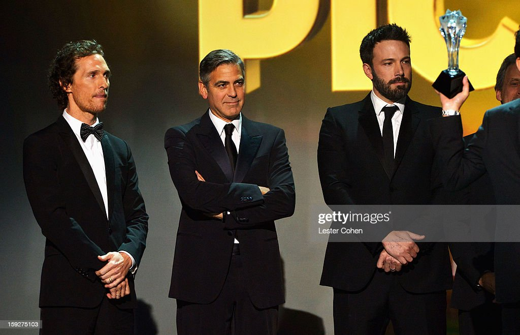 Presenter Matthew McConaughey, producer George Clooney and director Ben Affleck speak onstage during the 18th Annual Critics' Choice Movie Awards at The Barker Hanger on January 10, 2013 in Santa Monica, California.