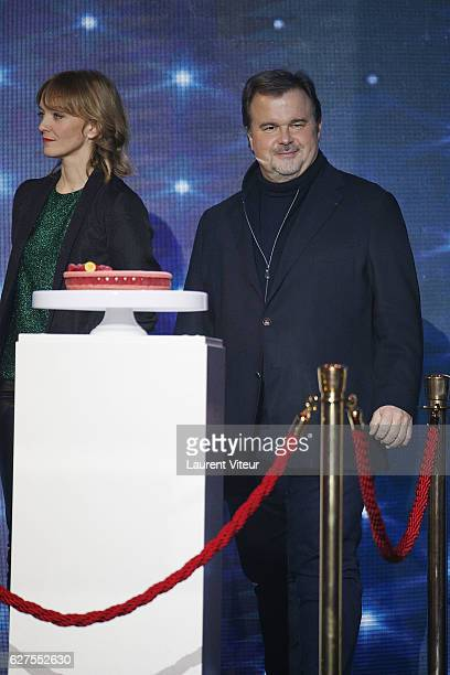Presenter Maya Lauque and Pastry chef Pierre Herme attend 30th Telethon at Hippodrome de Longchamp on December 3, 2016 in Paris, France.