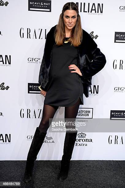 Presenter Melissa Satta girlfriend from Schalke's footballer KevinPrince Boateng shows her pregnancy prior to the Milian by Annette Goertz show...