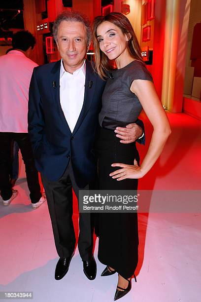 Presenter Michel Drucker and Princess of Savoy Clotilde Courau attend 'Vivement Dimanche' French TV Show at Pavillon Gabriel on September 11, 2013 in...