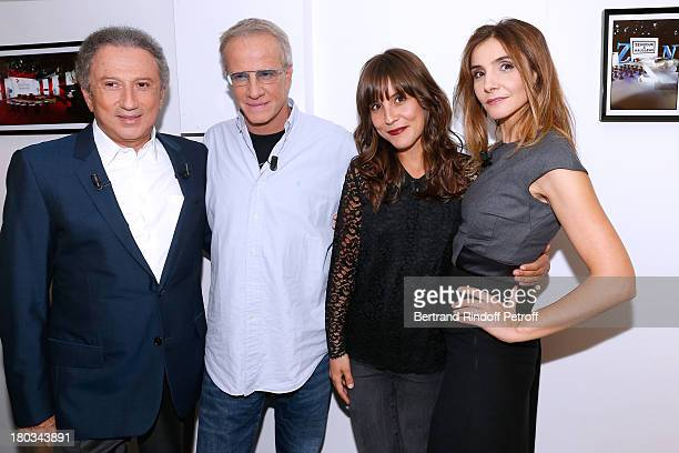 "Presenter Michel Drucker with Actors from France 2 TV series ""La Source"" Christophe Lambert, Flore Bonaventura and Princess of Savoy Clotilde Courau..."