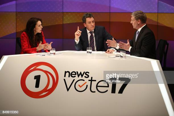 Presenter Mike Hosking chairs the TVNZ leaders debate between Labour Leader Jacinda Ardern and Prime Minister Bill English during the Vote 2017 2nd...