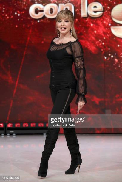 Presenter Milly Carlucci attends a photocall for 'Ballando Con Le Stelle' at RAI Auditorium on March 8 2018 in Rome Italy