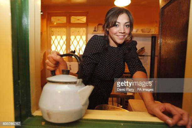 T4 presenter Miquita Oliver in the kitchen of a lifesize recreation of a 1940s at the Imperial War Museum in London for the launch of the Energy...