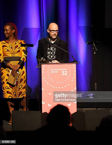 Presenter Moby and presenter Effie Brown speak onstage at the 32nd Annual IDA Documentary Awards at Paramount Studios on December 9 2016 in Hollywood...