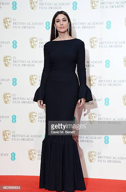 Presenter Monica Bellucci poses in the winners room at the EE British Academy Film Awards at The Royal Opera House on February 8 2015 in London...