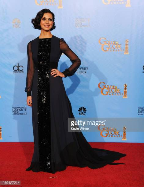 Presenter Morena Baccarin poses in the press room during the 70th Annual Golden Globe Awards held at The Beverly Hilton Hotel on January 13 2013 in...