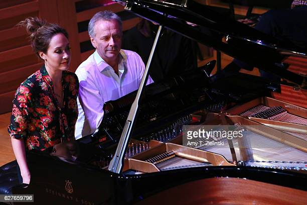 TV presenter Myleene Klass and television executive Peter Fincham perform a selection of Grieg's Lyric Pieces during 'Word And Play Celebrity...