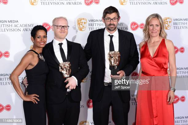 Presenter Naga Munchetty with winners of the Factual Series award for 'Louis Theroux's Altered States', Arron Fellows and Louis Theroux and presenter...