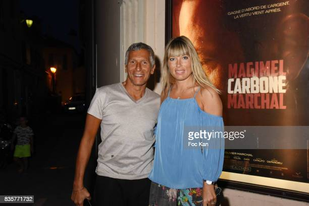 TV presenter Nagui and Melanie Page attend the 'Carbone' SaintTropez Premiere Outside Arrivals At Cinema La Renaissance Place des LIces on August 19...