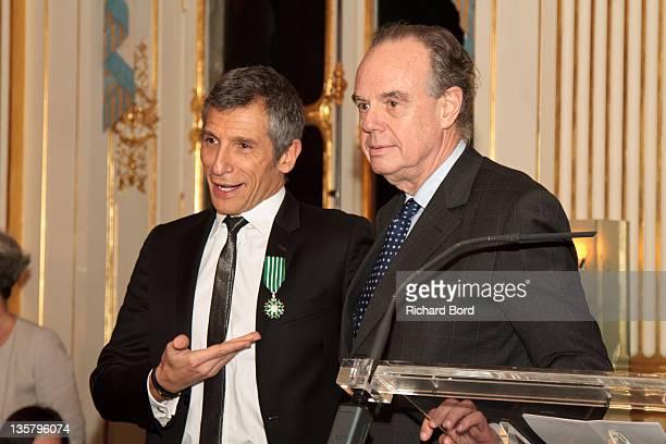TV presenter Nagui is awarded 'Chevalier de l'Ordre des Arts et des Lettres' by French Minister of Culture Frederic Mitterrand at Ministere de la...