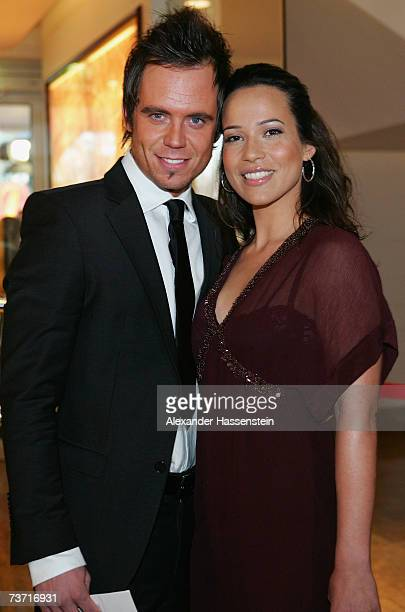 TV presenter Nandini Mitra arrives with Stefan Eichel for the Herbert Award 2006 Gala at the Elysee Hotel on March 26 2007 in Hamburg Germany