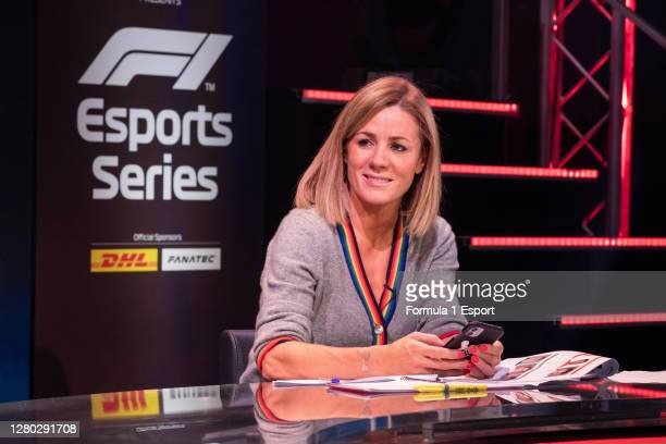 Presenter Natalie Pinkham during broadcast of round 1 of the F1 Esports Pro Series at GFinity Arena on October 14, 2020 in Fulham, England.