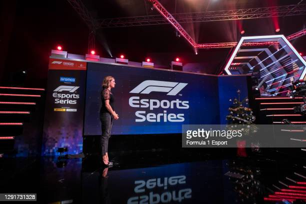 Presenter Natalie Pinkham looks on during broadcast of the F1 Esports Grand Final held at the GFinity Arena on December 16, 2020 in Fulham, England.