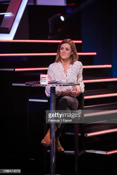 Presenter Natalie Pinkham looks on during round 3 of the 2020 F1 Esports Pro Series at GFinity Arena on November 18, 2020 in Fulham, England.
