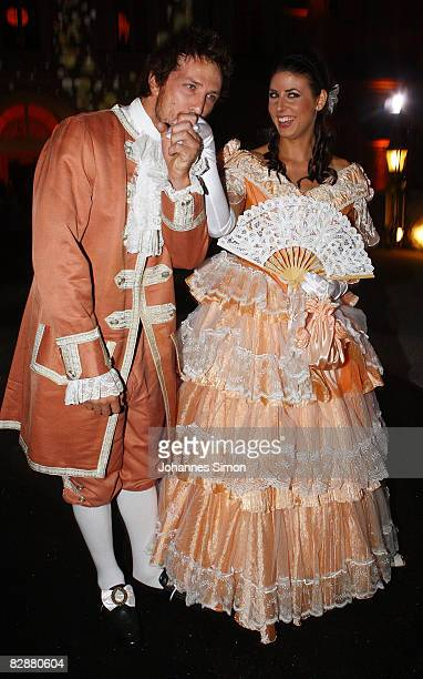 TV presenter Natascha Berg and friend attend the 'Fabulous Celebration' at Nymphenburg Castle on September 18 2008 in Munich Germany French champagne...