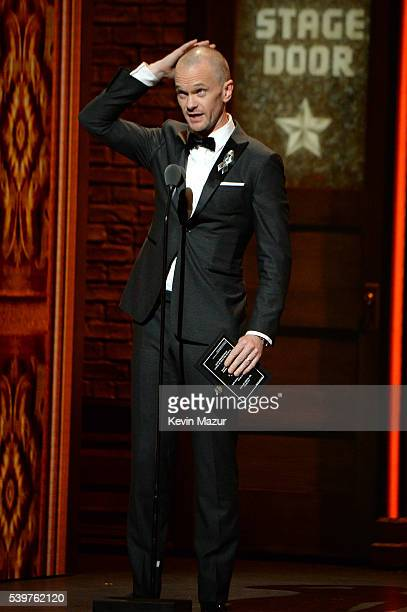 Presenter Neil Patrick Harris speaks onstage during the 70th Annual Tony Awards at The Beacon Theatre on June 12 2016 in New York City