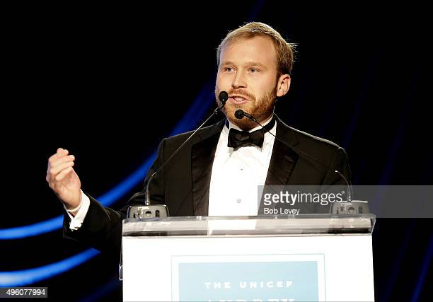 Presenter NextGen After Party CoChair Pierce Bush speaks onstage at the UNICEF Audrey Hepburn Society Ball honoring former first lady Barbara Bush at...