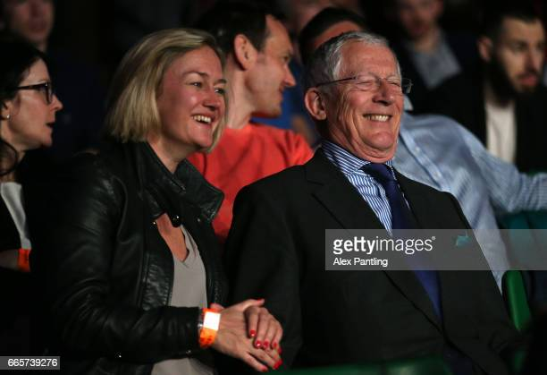 Presenter Nick Hewer watches on during the World Series of Boxing at York Hall on April 6 2017 in London England