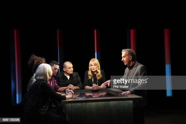 Presenter Nigel Latta speaks with Futurists Derek Handley Wendy McGuinness Sacha McMeeking Shay Wright and Frances Valintine on the TVNZ set of 'What...