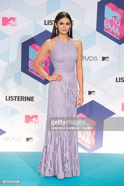 Presenter Nina Dobrev poses in the Winner's room at the MTV Europe Music Awards 2016 on November 6 2016 in Rotterdam Netherlands